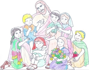 jesus-and-the-children-colour